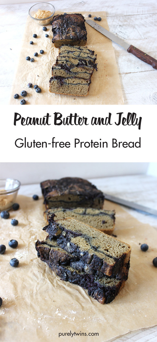 EASY and quick Peanut Butter and Jelly Quick Bread recipe. Made from just 6 simple ingredients and packed with healthy fats and protein. Paleo friendly, grain-free and gluten-free. Best PB & J Bread Ever! So moist and satisfying for breakfast or quick healthy snack idea.