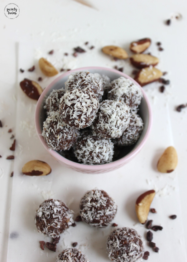 Healthy bite sized snack. Brazil nut balls with a hint of cocoa, coconut and maple. Delicious snack to enjoy anytime of the day. These snack balls are gluten-free, grain-free, paleo and vegan.
