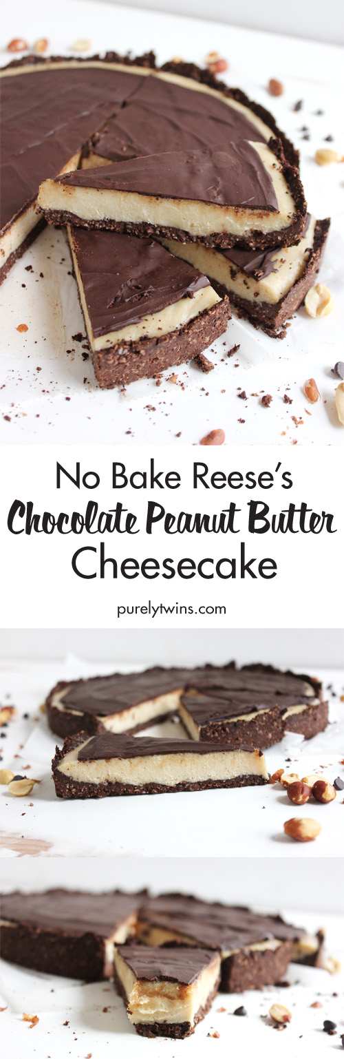 the BEST peanut butter chocolate cheesecake recipe. You'll never know it's dairy-free, gluten-free and grain-free. It's a peanut butter and chocolate lovers dream dessert. This cheesecake is super easy to make and taste like a Reese's with a healthy twist on it. No baking needed. Low in sugar. High in fat. Low in carbs. Basically ... amazing. A must make dessert.