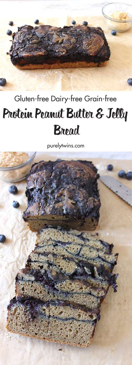 This amazingly moist and SIMPLE Peanut Butter and Jelly PROTEIN quick bread recipe. These thick slices make a great satisfying breakfast or on-the-go snack! Best part, it's only made from 6 ingredients and done in 45 minutes. No kneading needed. Gluten-free   Grain-free   Protein packed   Healthy Fats to keep you full and satisfied.
