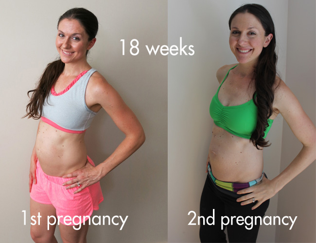 18 weeks pregnant side by side picture from 1st and 2nd pregnancy.