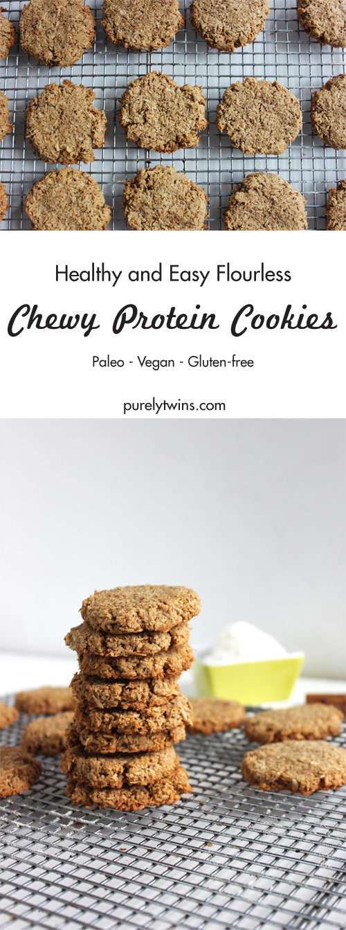 Paleo and vegan coconut cookies that are full of healthy fat and protein. Cookies don't get any easier than this. All your need is 4 ingredients, a bowl to stir then bake in oven. Healthy easy chewy protein cookies. This cookie recipe is gluten free, grain free, dairy free and egg free and sweetened with maple syrup. These cookies reminded us of cinnamon raisin cookies but without the raisins and oatmeal.