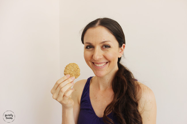 Eating chewy cinnamon protein coconut cookies.