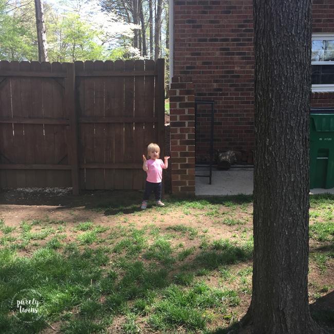 Little girl singing ourside