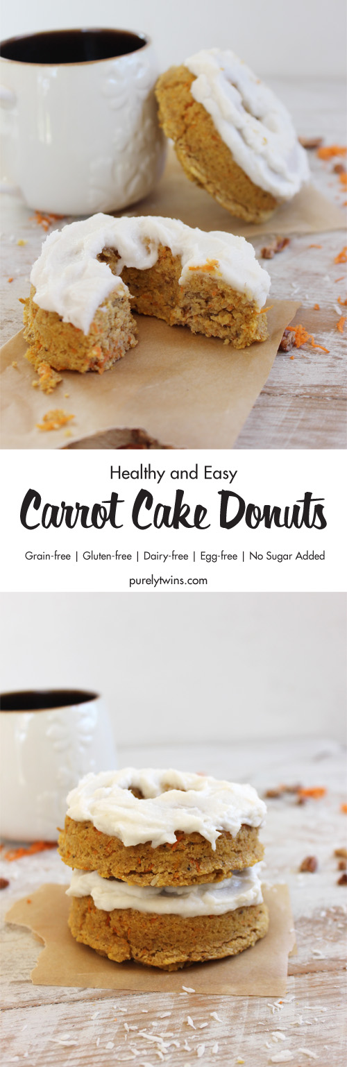 Super Moist Classic Carrot Cake recipe as Baked Donuts! These super easy baked donuts are secretly healthy and made with no sugar added and topped with a super simple creamy coconut butter frosting. Perfect carrot cake for breakfast or any time of the day. Hands-down one of our favorite donut recipes.