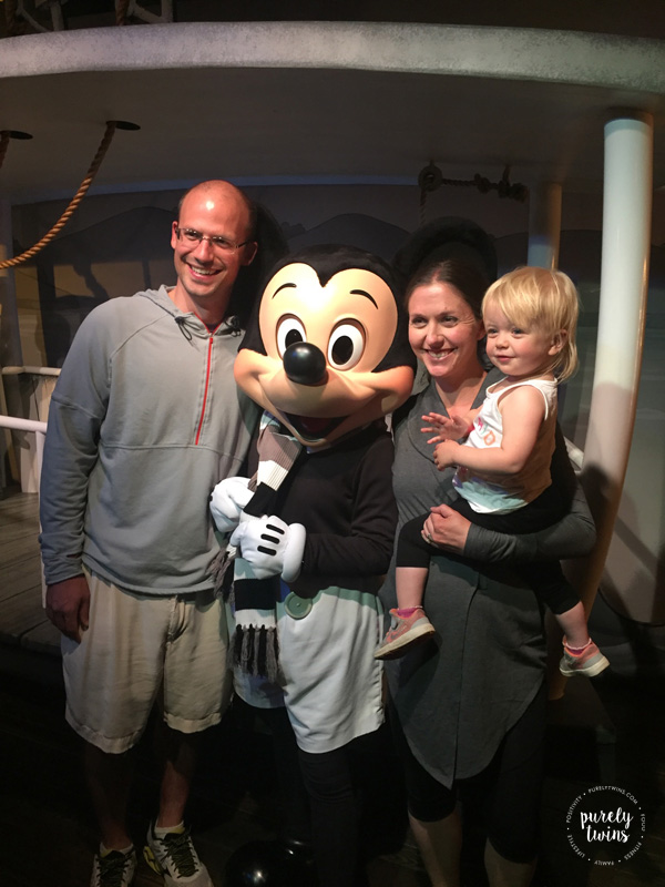 Meeting Mickey Mouse at Disneyland.