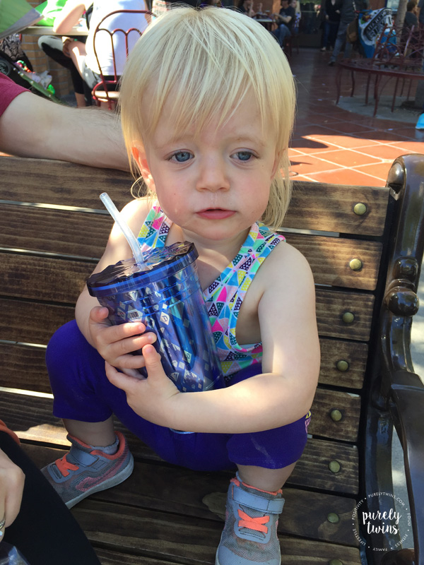 Getting a fun sippy cup for them to drink from at the parks.