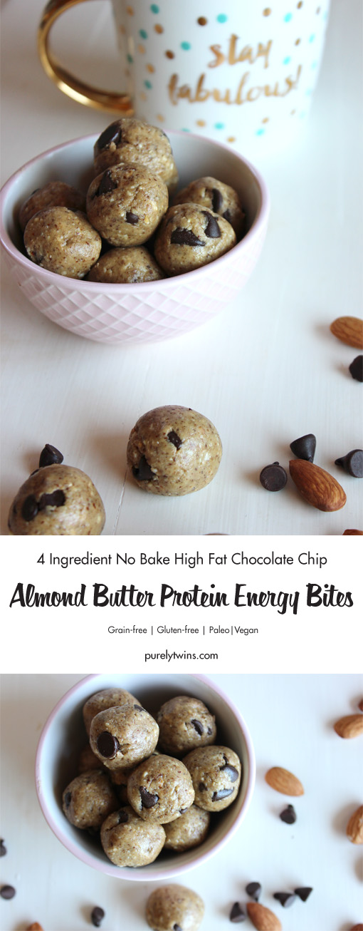 No Bake Chocolate Chip Almond Butter Protein Energy Bites -- easy to make, full of protein, and perfect for snacking or dessert! Soft and delicious balls taste like a batch of soft-baked chocolate chip cookies, but are made without flour, oats, oil, egg, or refined sugar! A great on the go recipe for busy families.