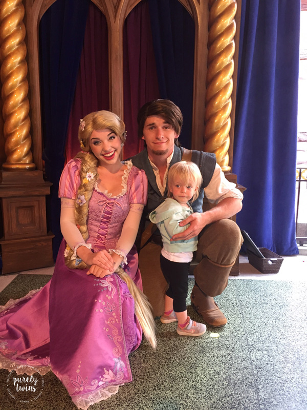 Meeting Flynn Rider and Rapunzel at Disneyland special moment for toddler. See other great ideas to do with a young child at Disneyland California.
