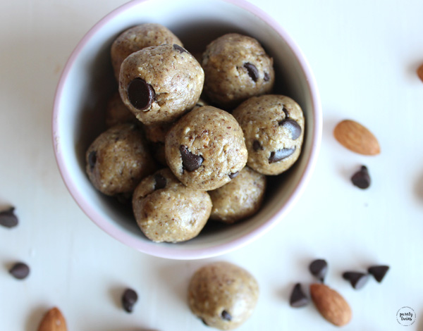 High fat protein almond butter chocolate chip bites