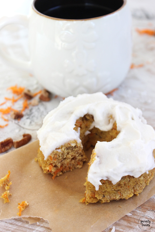 The Classic Carrot Cake Baked donuts made with 7 ingredients with coconut butter frosting are so moist and delicious ... and they are gluten-free, grain-free and vegan. Plus no added sugar. Makes just 2 large donuts - just enough for 2 servings for you and a loved one to enjoy with no leftovers. Perfect for when the cravings for a donut hit but don't want all the extra donuts around the house.
