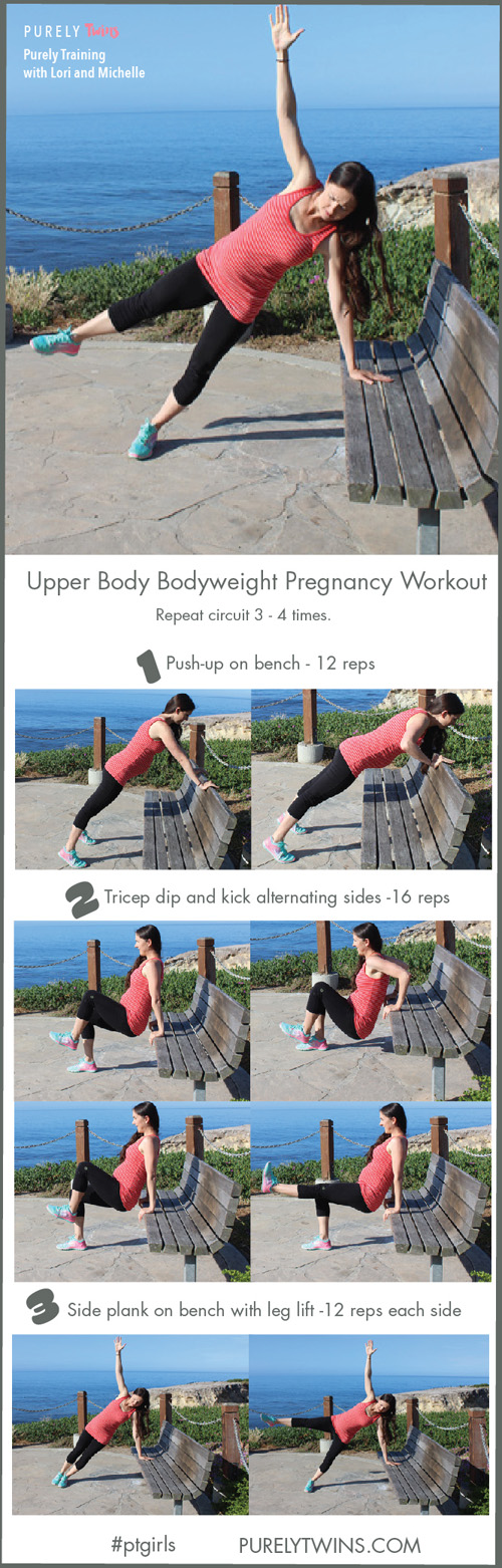 Keep you arms fit and strong during your pregnancy with these 3 moves. Upper body pregnancy workout using a bench. Are you ready to do this workout with me? Let's do this together. Click for follow along video and printable PDF.