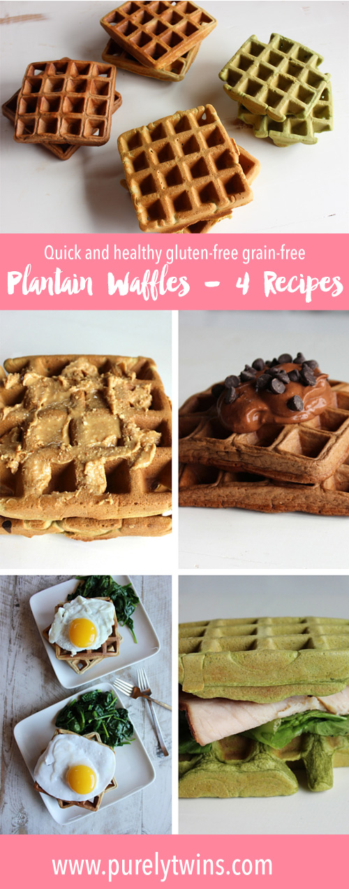Love waffles? Looking for gluten-free grain-free recipes that are nut free? Here are 4 easy to make and healthy waffles recipes using no flour. These waffles are made from plantains, eggs and coconut oil. No almond flour! for these paleo waffle recipe.