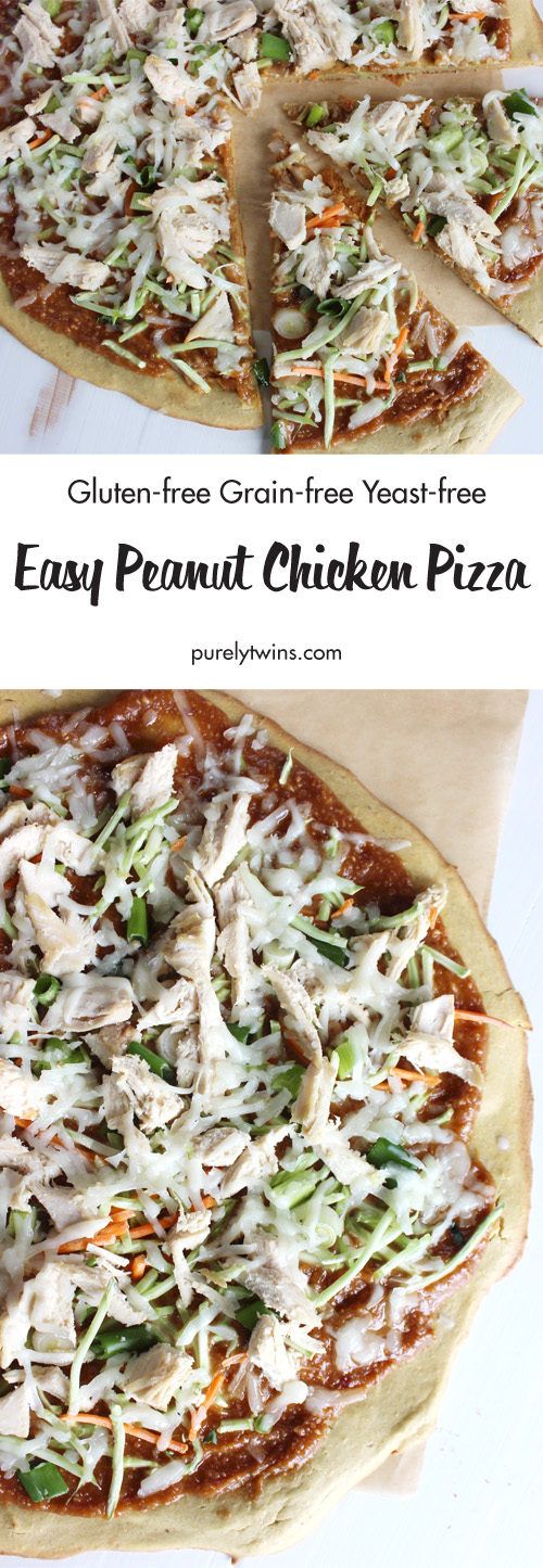 Gluten-free grain-free peanut chicken pizza. Our version of Thai peanut pizza. Better than take-out pizza and ready in under 30 minutes! Delicious peanut chicken pizza that will leave the whole family begging for more. Plantain pizza crust topped with a tangy peanut sauce, tender chicken, goat cheese, crunchy broccoli carrot slaw and green onion - an amazing flavor in every bite.