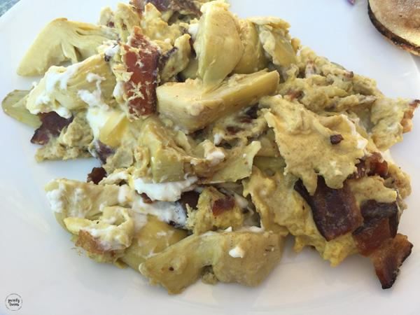 goat-cheese-artichoke-bacon-egg-scramble