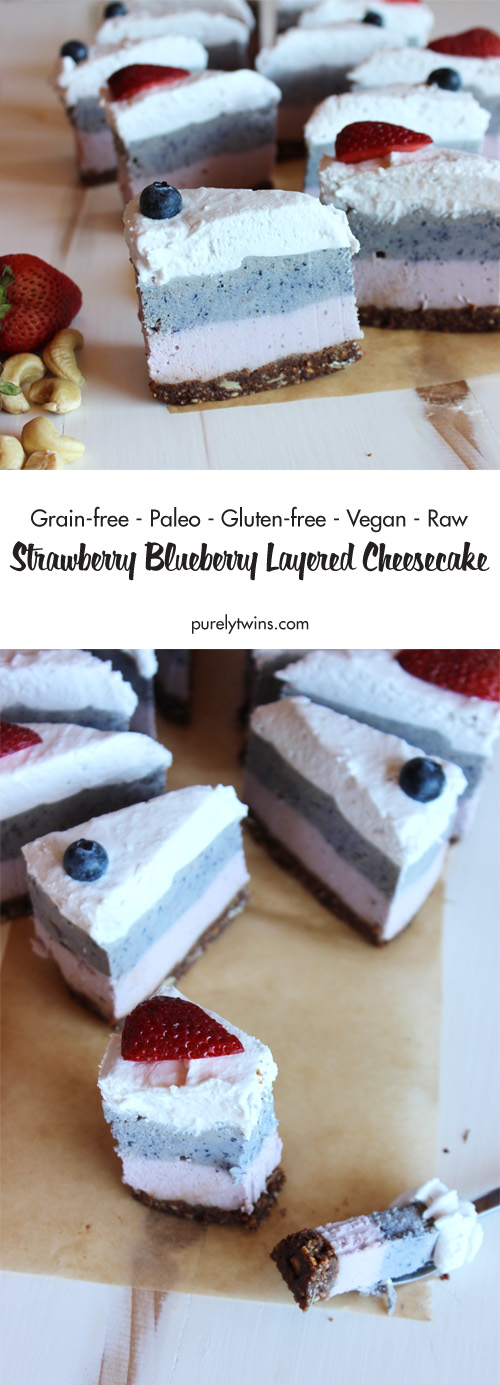 No Bake Strawberry Blueberry Layered Cheesecake with Chocolate Granola ...
