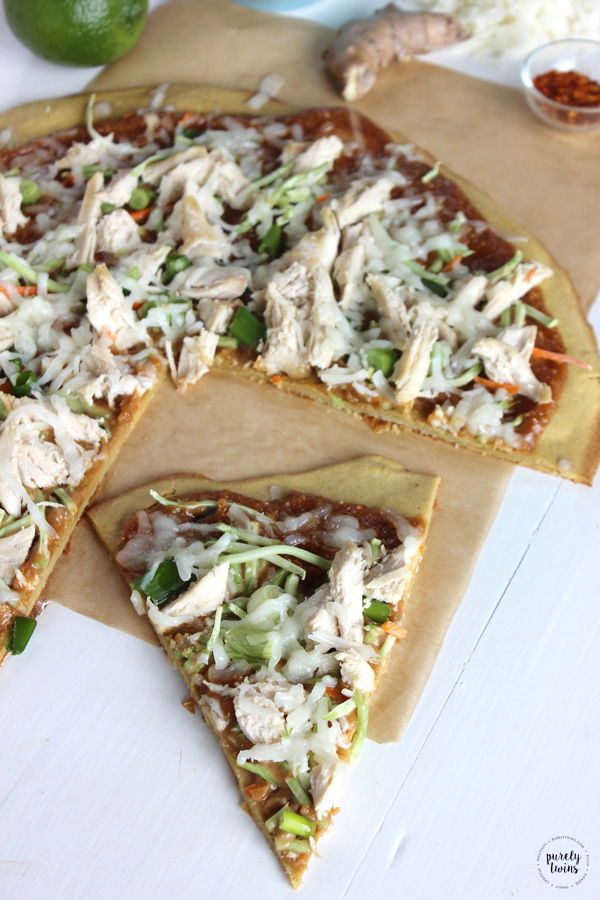 Crazy good peanut chicken pizza recipe. Easy, healthy and bursting with flavor. This will become a staple meal in your house. No gluten. No grains. No yeast.