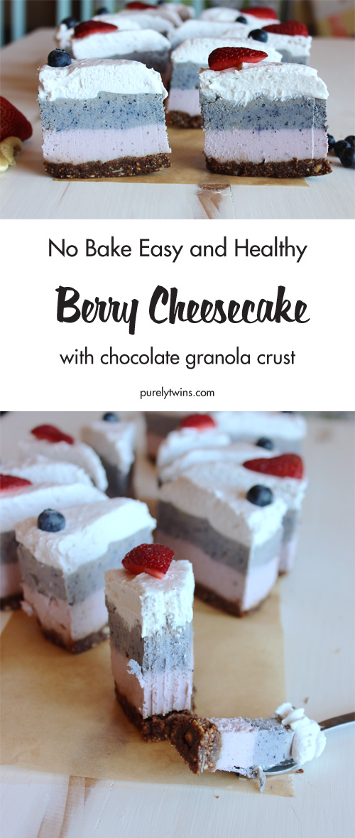 This is like no other No Bake Berry Triple Layer Cheesecake you'll ever have. It is perfect! So fresh and delicious with a fantastic base of chocolate granola for a little chocolate mixed in with the layers of berry goodness.