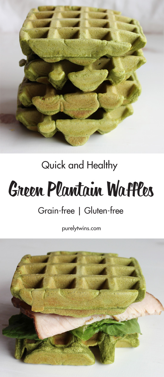 Green MONSTER waffles! A fun way to eat your spinach. Green plantain waffles make for great bread to use as sandwiches. Gluten-free. Paleo.