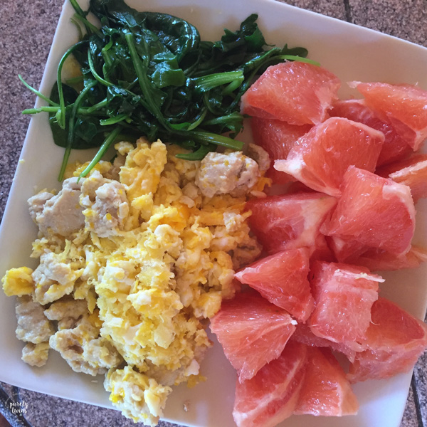 real food meal. Grapefruit eggs and spinach