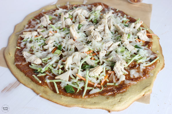 Peanut chicken pizza