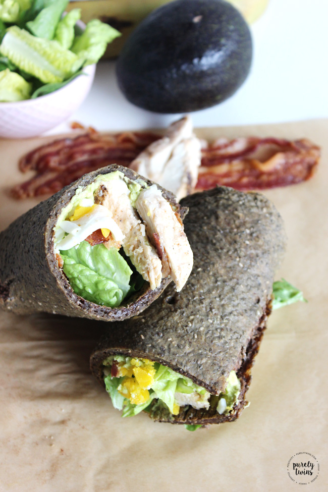 Single serving cobb chicken salad chia seed wrap recipe - The perfect summer or anytime kind of meal with nutrient packed ingredients. So good, you'll want to make this all the time! Come and see how to make cobb salad chia seed wrap that's gluten-free and grain-free.