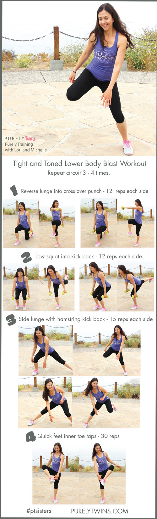 4 moves that firm up your lower body and all the exercises are fun too! Get ready ladies to tighten and tone all the beautiful muscles in this circuit workout that targets your thighs, abs, hips, hamstrings and glutes.