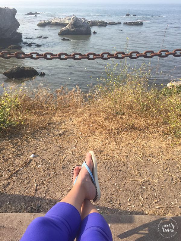 Meditating at ocean side at Pismo Beach, SLO