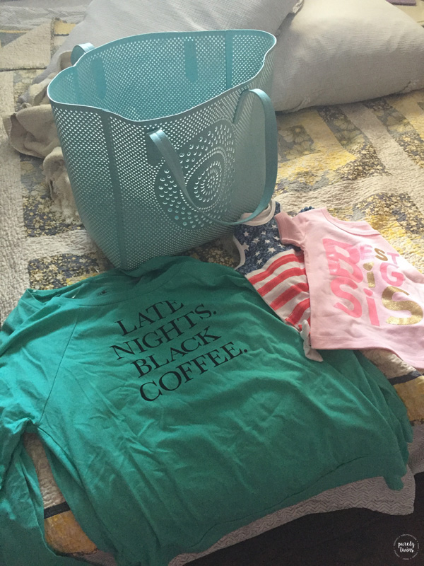 New items from Target. Love the beach bag and late nights black coffee shirt