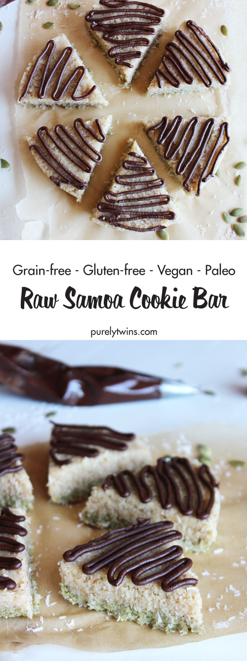 Raw Samoa Cookie Bar is a layered dessert that's inspired by the beloved Samoa cookie! Chocolate, caramel, and coconut never tasted so good! Healthy and delicious no-bake samoa cookies - these are a treat that your whole family will love! Click to get your step by step instructions including recipe video.