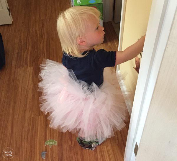 Toddler wearing tutu