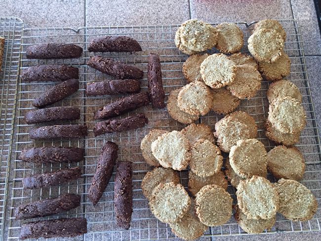 chocolate gluten-free homemade biscotti and lactation cookies.