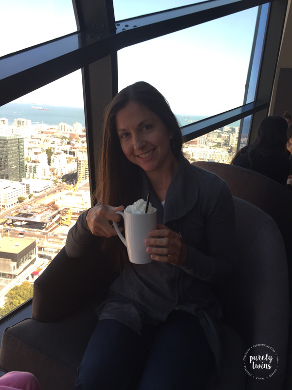 Drinking irish coffee at the View in downtown San Francisco.