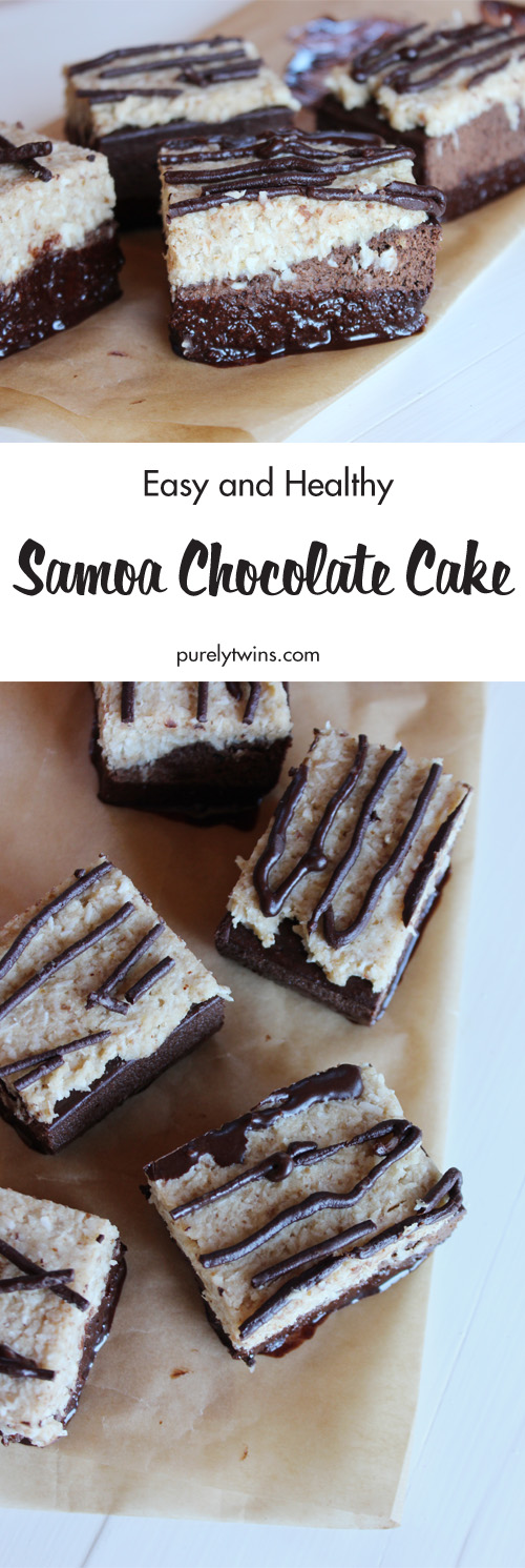 Samoa Chocolate Cake - move over Girl Scout cookies and say hello to this delicious cake. Layers of rich chocolate plantain cake, topped with chewy coconut caramel, chocolate drizzle and dipped in more chocolate! Sure to please lovers of samoas everywhere.