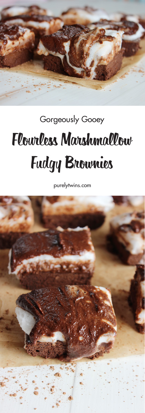 "Chocolate Marshmallow Brownies are a ""hot mess"" but man are they a delicious mess!! Rich chocolate flourless brownies, gooey chocolate topping, and perfectly fluffy marshmallows make these brownies the perfect summer treat. We think it is perfect anytime. Fun and easy to make too. Click to see a step-by-step video to see how easy these brownies are to make."