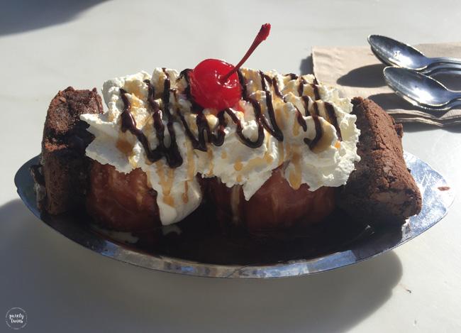 Ghirardelli ice cream salted brownie sundaes