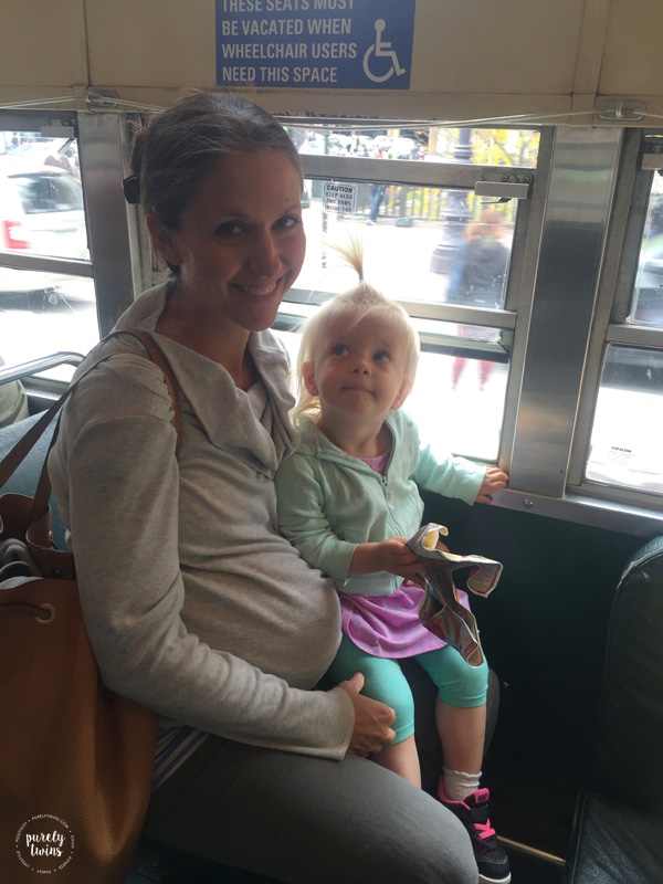 Street car ride mom with daughter