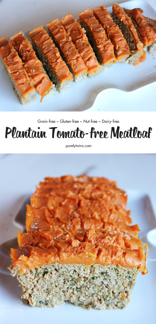 This hearty gluten-free meatloaf is made from a base of plantains and tigernut flour, baked up to perfection and topped with a flavorful sweet potato carrot sauce. Whole 30 and Paleo. No nuts. No tomatoes. No grains. No dairy.