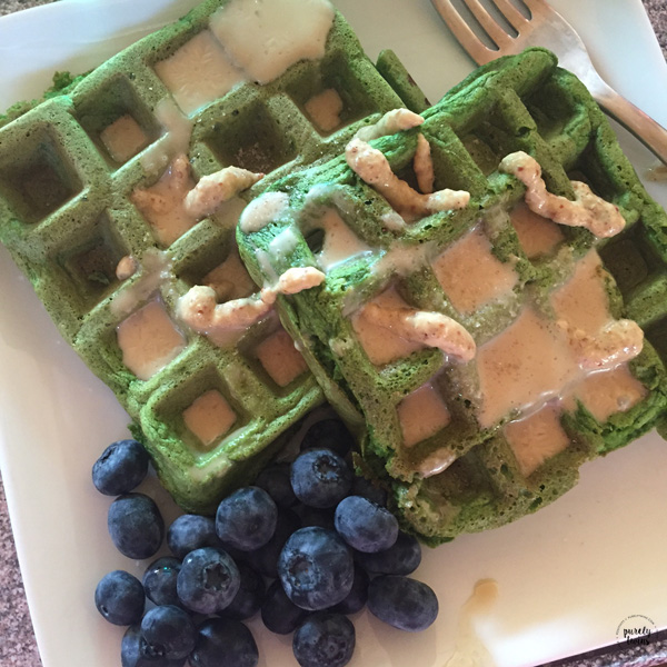 Green spinach plantain waffles with tahini mustard