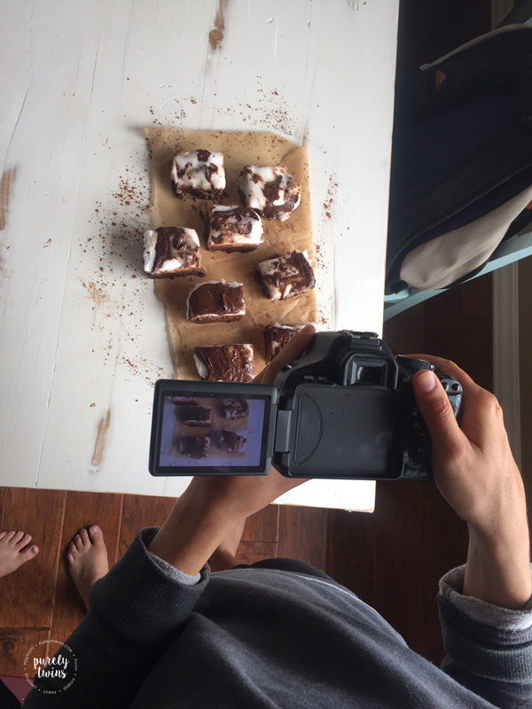 Recipe lifestyle bloggers behind the scenes action of taking new recipe pictures.