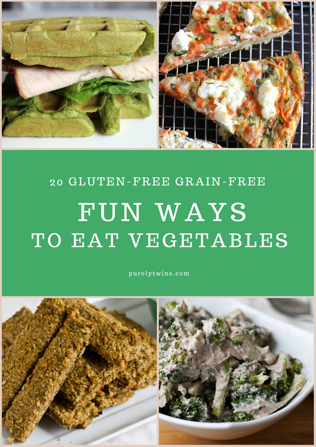 Need ideas to eat more veggies in your diet? Check out these 20 FUN recipe ideas to eat more vegetables. The recipes are gluten-free grain-free!