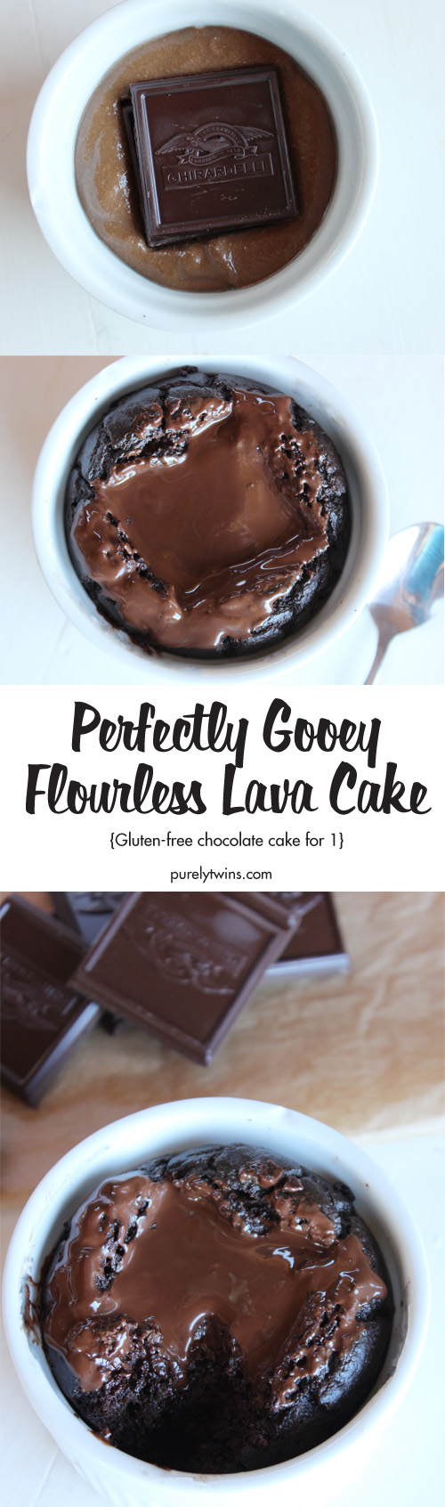 The Best and Easiest Flourless Chocolate Lava Cake - The warm, gooey, Ghirardelli chocolate center is heavenly! A super simple homemade cake batter bakes up into a beautiful chocolate cake with warm fudge hidden inside! A dream-come-true dessert! Only 6 ingredients. No gluten, grains, nuts or added sugar.