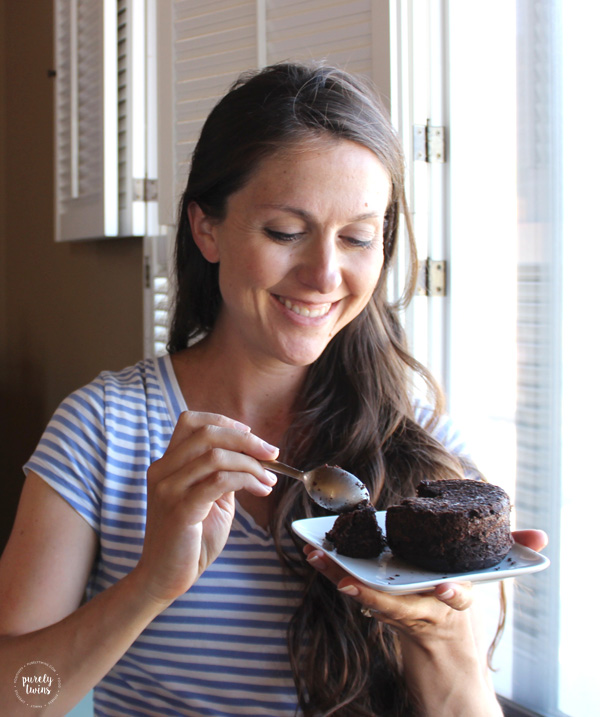 Eating chocolate lava cake. Gluten-free. Paleo.