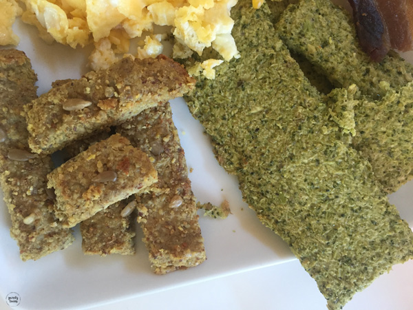 Gluten-free paleo broccoli breadsticks and sunflower bread.