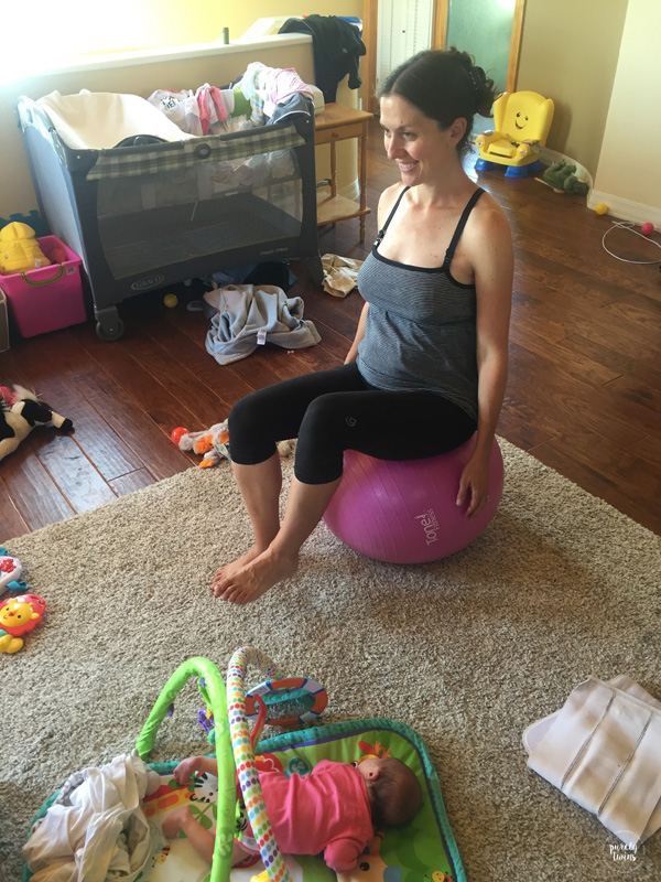 Mom doing core work post partum.