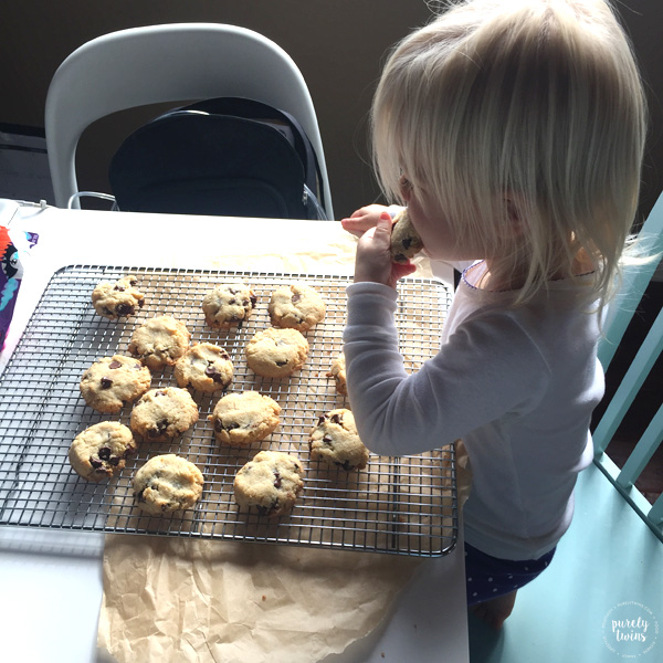 2 year old eating paleo chocolate chip cookies
