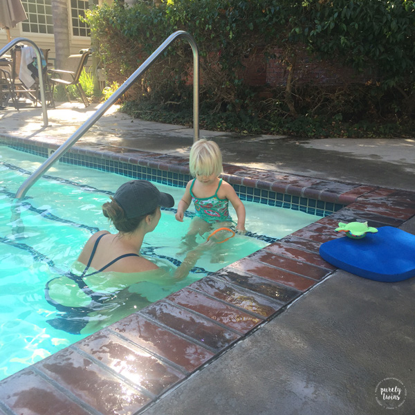 Getting swim lessons for the very first time at 2 years old.