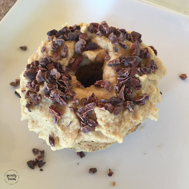 Love starting the day with 3 ingredient protein grain-free plantain donuts with cacao nibs.