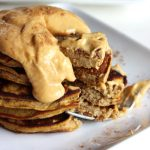 Flourless Pumpkin Plantain Pancakes with pumpkin whipped cream