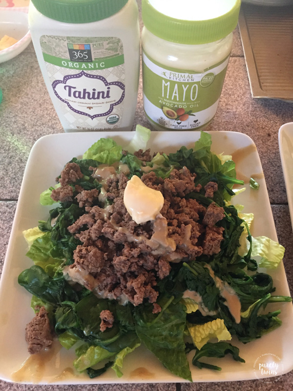 Obsessed with tahini, paleo mayo from Thrive Market and ground bison from US Wellness meats.